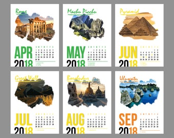 2018 Travel Printable Calendar - PDF Monthly Desktop Calendar - 8.5 X 11 - Instant Download