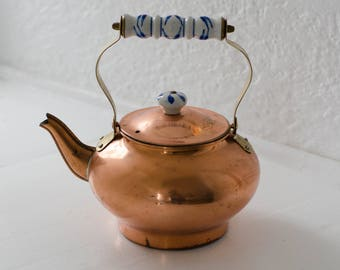 vintage dutch copper kettle with ceramic handle