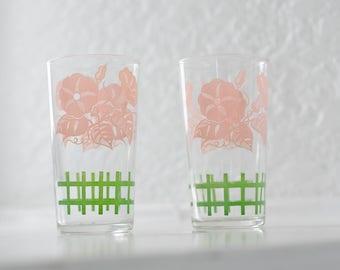 Vintage Juice Glasses - pink + green