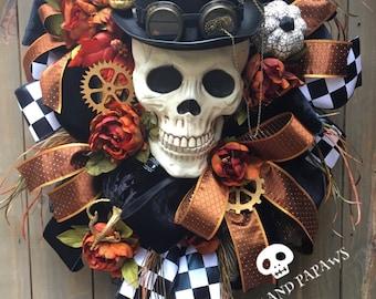 Steampunk Skeleton Wreath, Large Skelly , Halloween Wreath, Autumn Wreath,Spooky Wreath, Halloween Decor,Mr Bones wreath, Skeleton Wreath