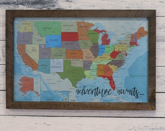 Map Of Usa With Pins.Framed Usa Map Etsy