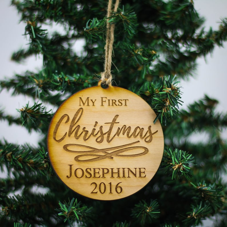 Custom Christmas Gifts.Personalized First Christmas Ornament Custom Christmas Ornament Rustic Christmas Ornament Wood Ornament Baby Christmas Gifts
