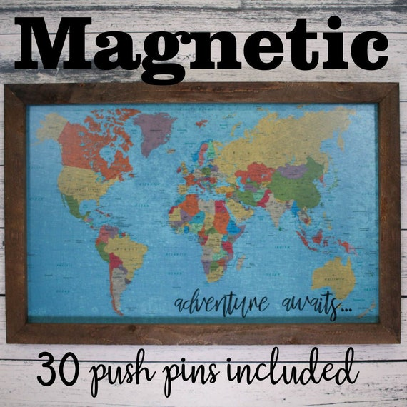 Framed Magnetic World Map.Framed Magnetic World Map Push Pin Travel Map 24x36 Magnetic Etsy
