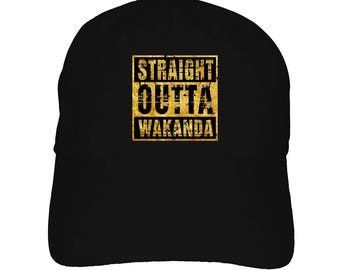 922a56761d6 Black Panther Straight Outta Wakanda Dad Hat Baseball Cap Gold theme Marvel  Movie type Craze