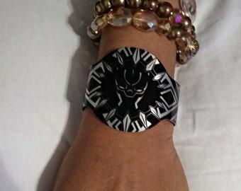 Black Panther Unisex Aluminum Cuff Bracelet Marvel type craze Straight Outta Wakanda