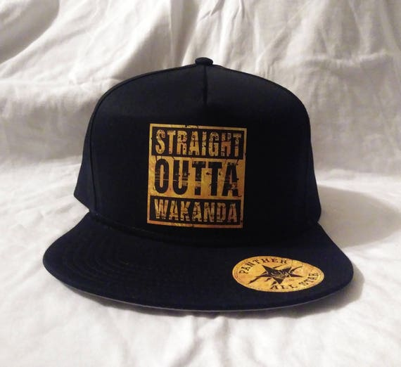 5fa3d23a792 Custom Black Panther All Star Snap Back Hat Gold theme Marvel