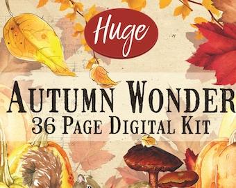 HUGE 240 pc. Autumn Wonder Fall Printable Digital Journal Kit, Digital Fall, Fall Digital Collage, Autumn Junk Journal Kit, Fall Download