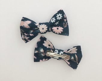 Bow Clip- Navy and Rose Gold