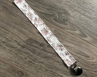 Pacifier clip, rose gold floral