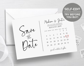 27490025494b5 Save The Date Calendar Template, TRY BEFORE You BUY, Save The Date Postcard,  100% Editable, Wedding Announcement, Printable, Rustic