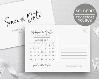Save The Date Postcard, Calendar Template, TRY BEFORE You BUY, Instant Download, Save The Date Cards, 100% Editable, Printable