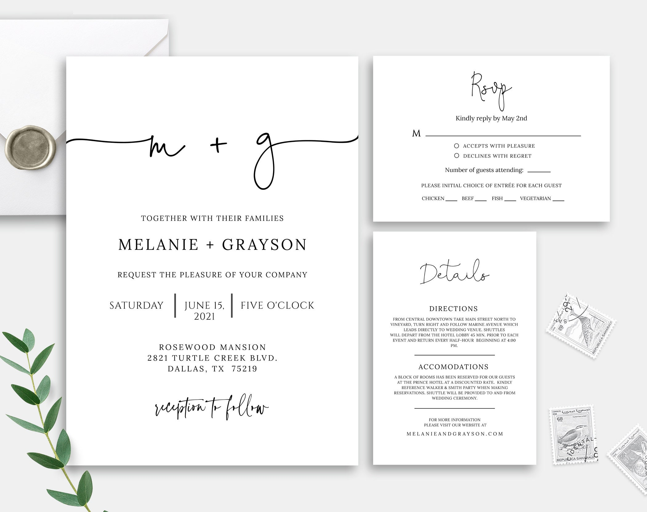 Simple Wedding Invitation Template TRY BEFORE You BUY Suite Instant Download Minimalist Rsvp Card Invite