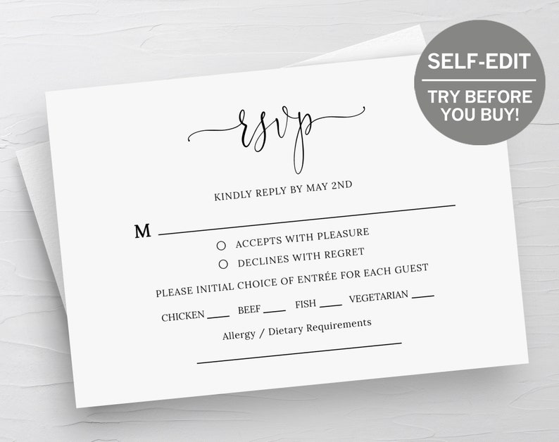 photograph about Printable Rsvp Card known as RSVP Card Template, Marriage ceremony RSVP Playing cards, Respond to Playing cards, RSVP Template, Prompt Down load, Marriage Printable, Templett, Editable, Minimalist