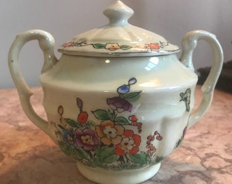 Vintage 1930s Hand-Painted Hollyhock Sugar Bowl