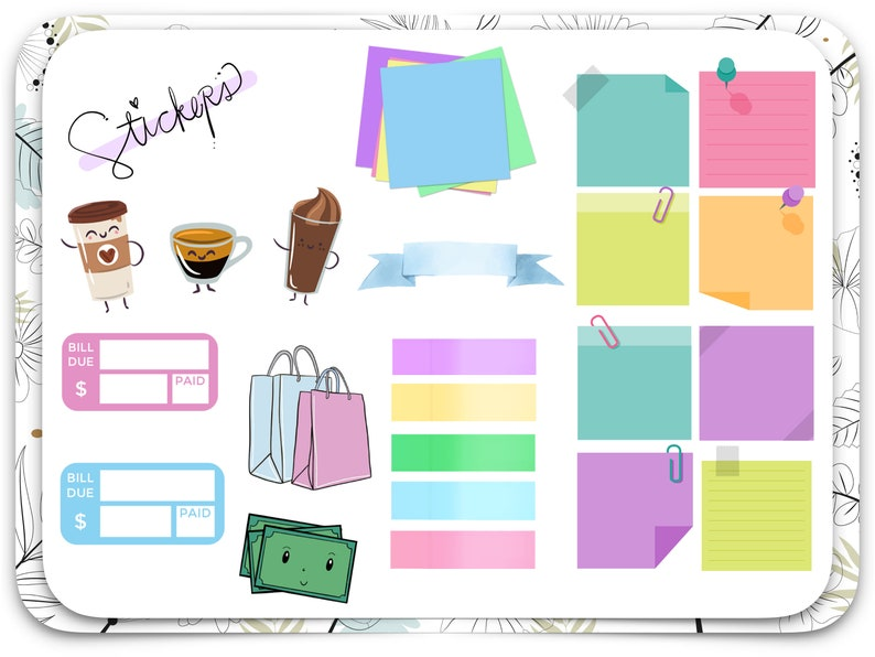 Goodnotes Planner Stickers - Sticky Notes, Coffee, Bill Payment, Labels -  Pretty and Productive