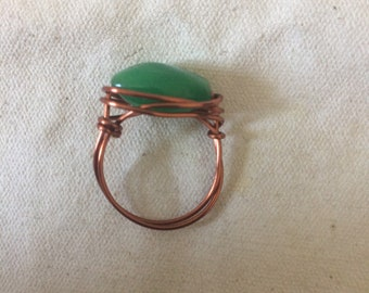 Wire Wrapped Glass Bead Ring