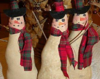 3pc. Primitive Snowmen Bowl Fillers doll