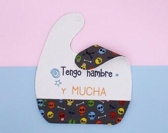 Baby bib, baby, personalized bib, skull bib, toddler bib, Nosolobaberos, baby gift, cotton bib, original Baby Gift