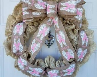 Breast Cancer Awareness Burlap Wreath;support;front door wreath;home decor;wreath;Burlap;ivory;
