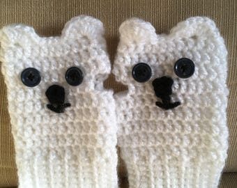 Polar Bear fingerless gloves
