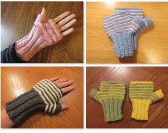 3-in-1 Knitting PDF Pattern – Easy Striped Knitted Fingerless Mittens –Easy Knitting Patterns - Three Patterns in One