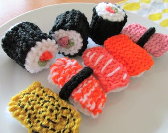 3-in-1 PDF Knitting Patterns - Knitted Sushi - Instant Digital Download - Easy Knitting Patterns
