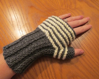 Knitting PDF Pattern – Easy Striped Knitted Fingerless Mittens – Lovely and Long – Easy Knitting Pattern – Instant Digital Download