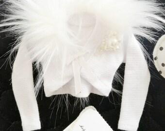 Clothing for bjd14 bolero white fur minifee clothes