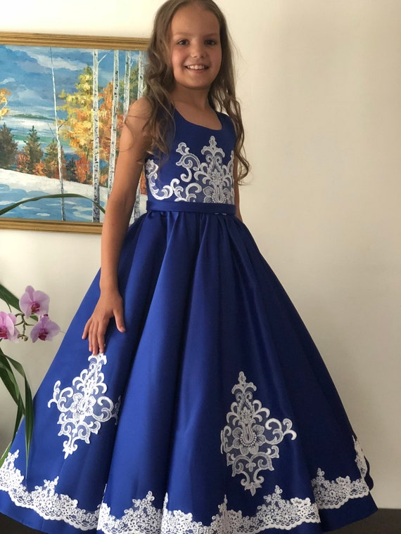 Royal Blue Pageant Prom Girls Dress Girls Blue Ball Gown Party Birthday Holiday Wedding Blue Girls Dress Pageant Outfit Fun Fashion Dress