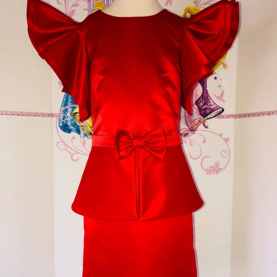 Red interview dress Pageant red dress with peplum and bow Girls satin dress Pageant outfit Red interview peplum dress Custom pageant dresses