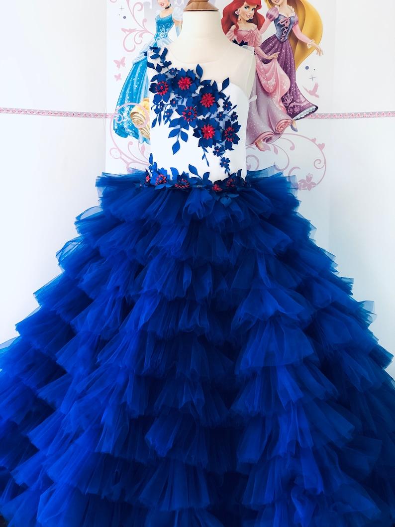 Blau Weiß geant Prom Mädchen Kleid Mädchen Ball kauert Party Birthday  Urlaub Wedding Mädchen Kleid Pageant Outfit Fluffy Laufbahn Kleid