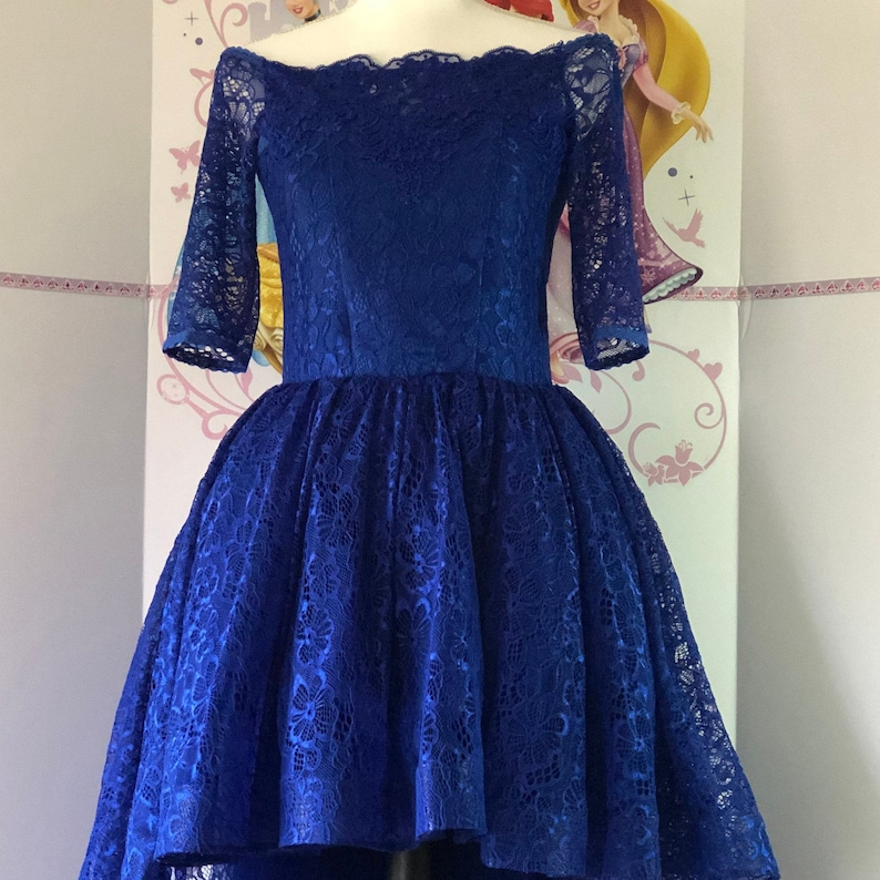 Royal Blue pageant high-low dress Party Wedding Birthday girls dress Pageant outfit Fun fashion dress Lace girls dress Custom Casual dress