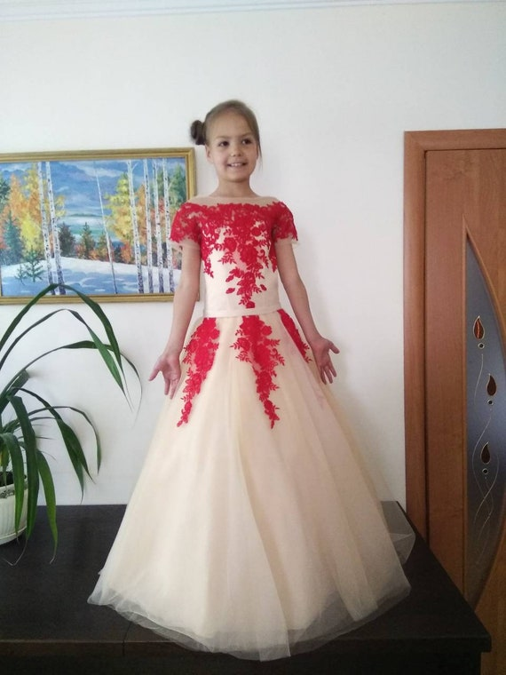 Red Beige Dress Pageant Prom Dress Girls Ball Gown Party Wedding Birthday Girls Dress Girls Long Dress Pageant Outfit Fun Fashion Dress
