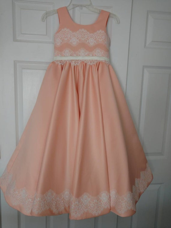 Peach Pageant Prom girls dress Girls ball gown Party Birthday | Etsy