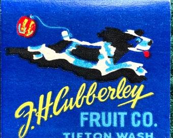 Vintage feature matchbook F.H. Cubberley Fruit company Tie-It-On Apples Tieton Washington