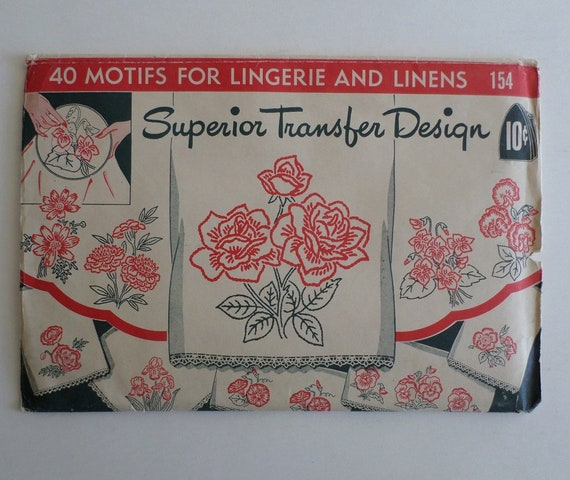 Superior Transfer Design Vintage Iron On Embroidery Patterns Etsy