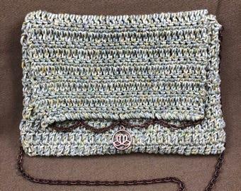 Crochet Bag - Crochet Purse - Crochet Shoulder Bag - Crochet Handbag - Green Yellow Grey White Purse - One of a Kind Purse - Handmade Purse