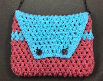 Crochet Bag - Crochet Purse - Crochet Shoulder Bag - Crochet Handbag - Sky Blue Bag - Salmon Pink Bag - One of a Kind Purse - Handmade Bag