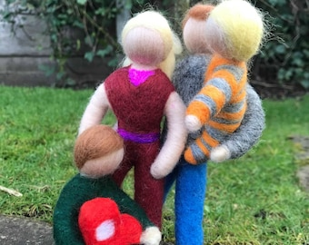 Needle Felted Family Commission from photographs - Singles/Couples also available - One off and original