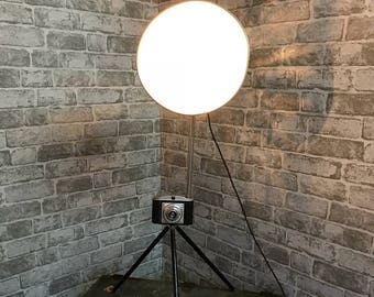 Upcycled 1960s Camera Table Lamp.