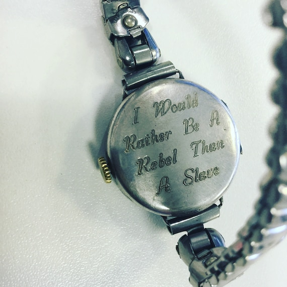 Silver Swiss Watch with Suffragette Inscription