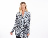 Supima Modal Cardigan - Black and White Stained Glass