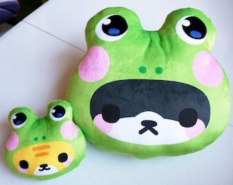 Froggy Cat Plush Pillow (2 sizes + Keychain)