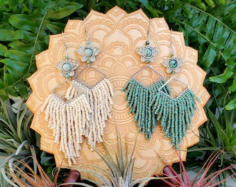 Beaded Double Fringe Silver Lotus Earrings with Natural Turquoise Crystals; Available in Cream or Turquoise.