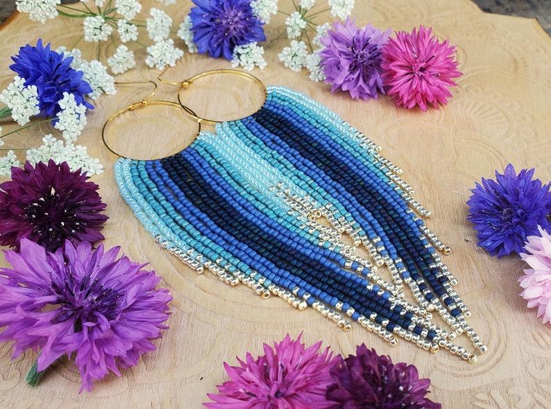 Long Boho Blue Ombr\u00e9 Beaded Fringe Hoop Earrings; /'Tranquility/'