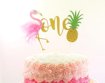 Flamingo Cake Topper One Custom Pineapple Tropical Birthday