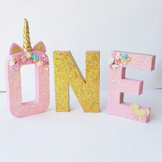 Freestanding Decorative Letters Girls Treat Table Decor Gold Glitter Letters Smash Cake Props Unicorn First Birthday Supplies