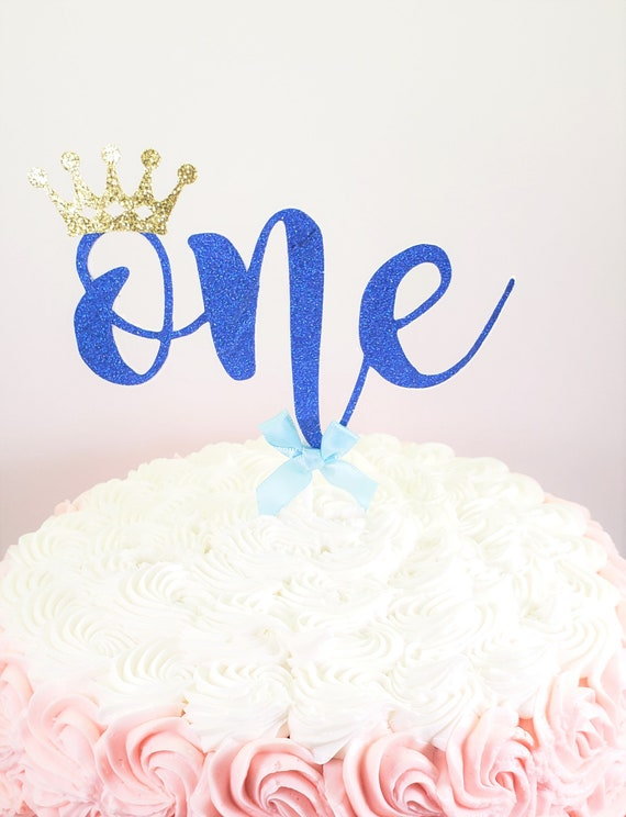 Blue Birthday Cake Topper Boys First Crown