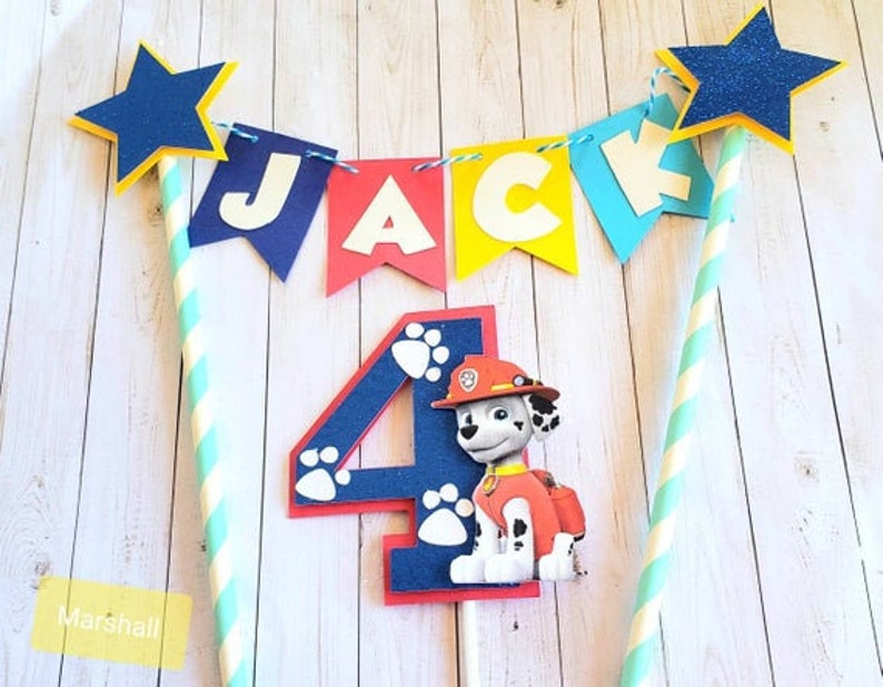 Paw Patrol Cake Topper Marshall Skye Everest Puppy Theme ...