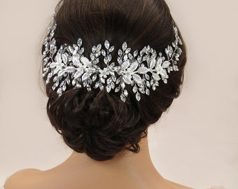 Crystal Bridal Hair Piece Floral Bridal Headpiece Crystal Bridal Hair Accessories Silver Leaf Wedding Hair Vine Wedding Hair Jewelry
